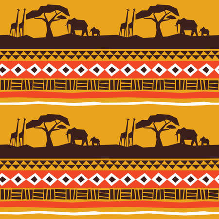 African art seamless pattern. Africa landscape with animals and traditional tribal style decoration background.