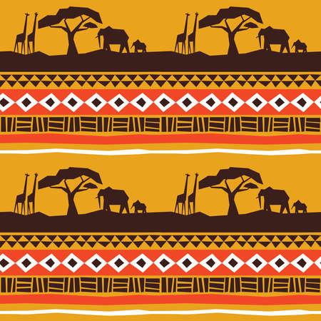 Modello senza cuciture di arte africana. Paesaggio dell'Africa con animali e sfondo di decorazione in stile tribale tradizionale.