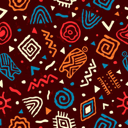 Abstract african art style seamless pattern. Hand drawn tribal decoration background with boho doodle shapes and ethnic symbols. Foto de archivo - 122582255