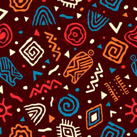 Modèle sans couture de style art africain abstrait. Fond de décoration tribal dessiné à la main avec des formes de griffonnage boho et des symboles ethniques.