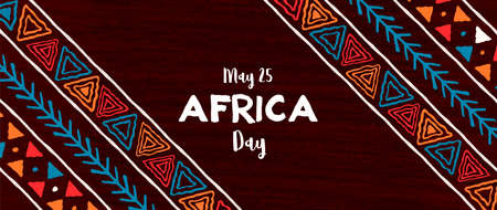 May 25 Africa Day banner illustration with traditional tribal hand drawn art for african freedom holiday.