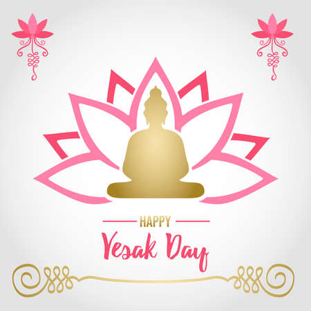 Happy Vesak Day card illustration for hindu celebration holiday. Gold buddha statue silhouette on pink lotus flower.
