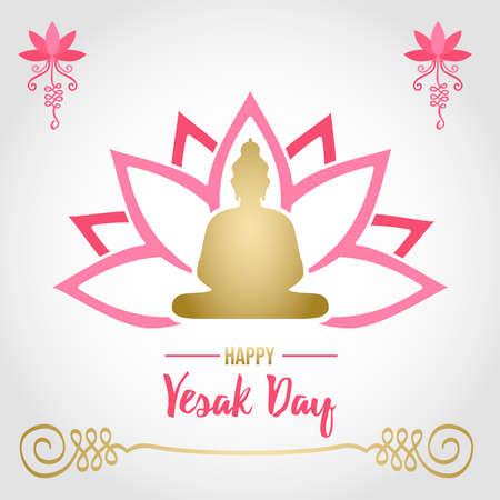Illustration de carte Happy Vesak Day pour les vacances de célébration hindoue. Silhouette de statue de Bouddha d'or sur la fleur de lotus rose.