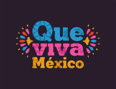 Citation de typographie Que viva mexico avec décoration d'art floral traditionnel et texture vintage. Texte de concept mexicain pour un événement culturel ou une célébration de pays.