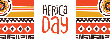 Happy Africa Day web banner illustration with traditional tribal art for african freedom holiday.