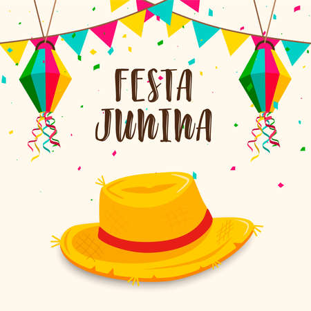 Happy Festa Junina greeting card illustration of colorful paper balloons and straw hat for brazilian celebration.