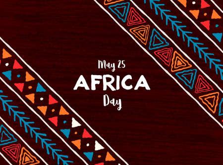 25 mai Illustration de la carte de voeux de la fête de l'Afrique avec un art tribal traditionnel dessiné à la main pour les vacances de la liberté africaine.