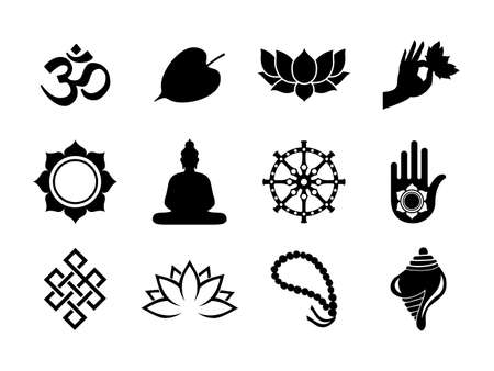 Vesak Day celebration icon set. Black color symbol collection on isolated background. Includes buddha statue, bodhi tree leaf, lotus and more. Vettoriali