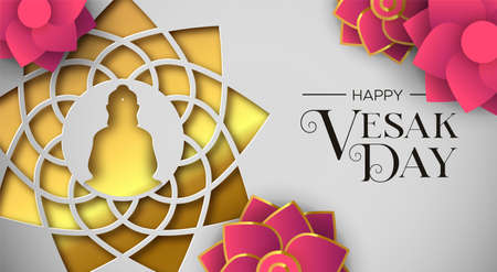 Happy Vesak Day illustration for hindu holiday celebration. Gold paper cut buddha mandala with pink lotus flowers.