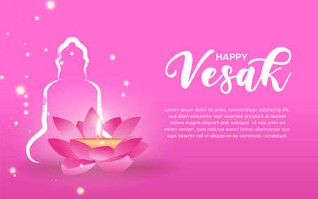 Happy Vesak Day greeting card template for buddha birth holiday celebration. Lotus flower with candle inside on pink background.