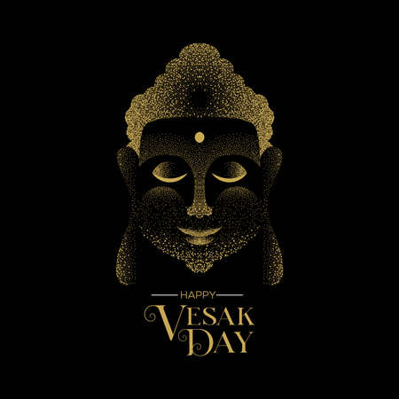 Happy Vesak Day illustration for hindu holiday celebration. Gold particle buddha face on black background. Ilustrace