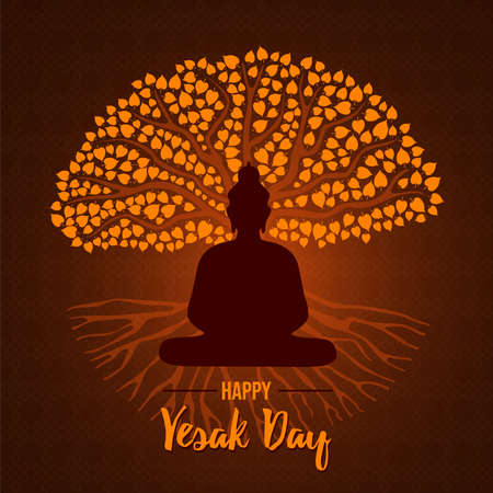 Happy Vesak Day card illustration for traditional hindu holiday. Buddha statue silhouette on gold bodhi tree.