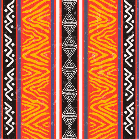 African art seamless pattern illustration with colorful tribal decoration. Wild boho background design.
