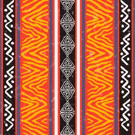 Nahtlose Musterillustration der afrikanischen Kunst mit bunter Stammes- Dekoration. Wildes Boho-Hintergrunddesign.
