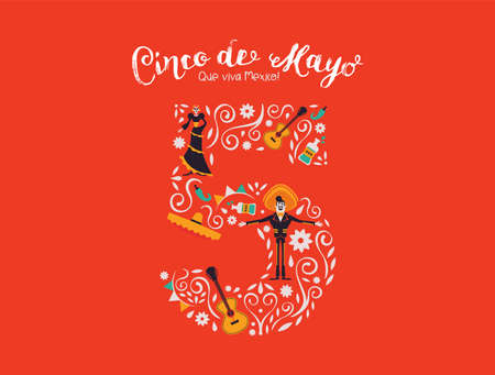 Happy Cinco de Mayo greeting card illustration for mexico independence celebration. May 5th number with traditional culture decoration. Includes mariachi man, skeleton woman and guitar.
