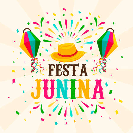 Happy Festa Junina greeting card illustration for traditional brazilian festival celebration. Colorful paper balloon and straw hat with text quote.