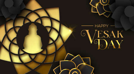 Happy Vesak Day illustration for hindu holiday celebration. Gold paper cut buddha lotus flower and 3d floral decoration.