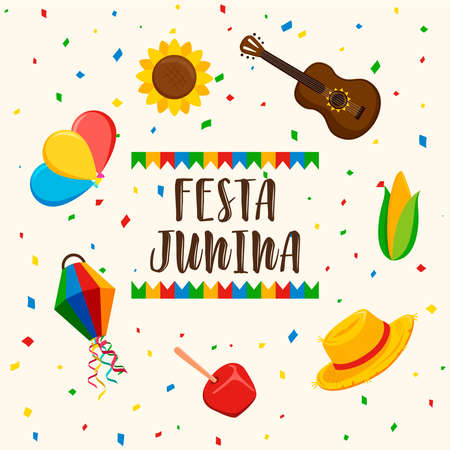 Happy Festa Junina greeting card illustration for brazilian celebration. Includes paper balloon, guitar, corn and more.