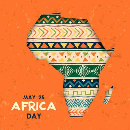 Ilustración de la tarjeta de felicitación del día de África para la celebración del 25 de mayo. Mapa de papercut del continente africano con decoración de arte tribal tradicional.