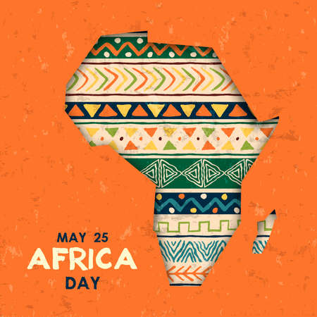 Africa Day greeting card illustration for 25 may celebration. African continent papercut map with traditional tribal art decoration.