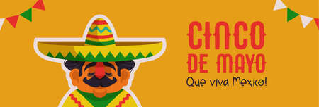 Happy Cinco de Mayo web banner illustration for Mexican independence holiday celebration. Cartoon mariachi man singer with big hat and poncho and Viva Mexico