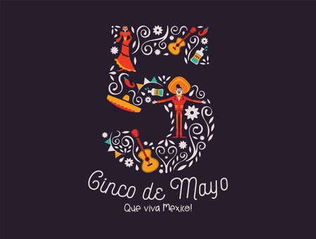 Happy Cinco de Mayo greeting card illustration for mexico independence celebration. May 5th number with traditional culture decoration. Includes mariachi man, skeleton woman and guitar. Imagens - 122582172
