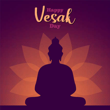 Happy Vesak Day card illustration of buddha statue silhouette on lotus flower background.