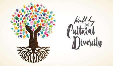 Cultural Diversity Day card illustration. Tree made of human hand prints together for love and peace concept.