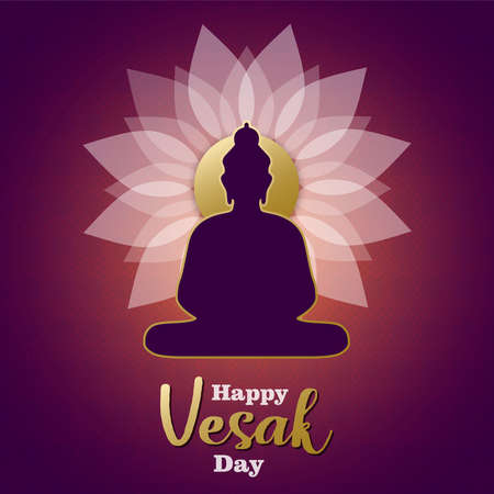Happy Vesak Day card illustration for traditional hindu holiday. Buddha statue silhouette on pink lotus flower.
