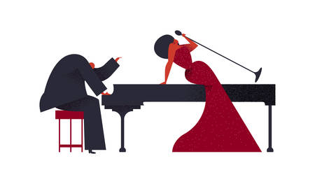 Jazz concert concept. Man playing piano with woman singer on isolated white background for music festival or event.