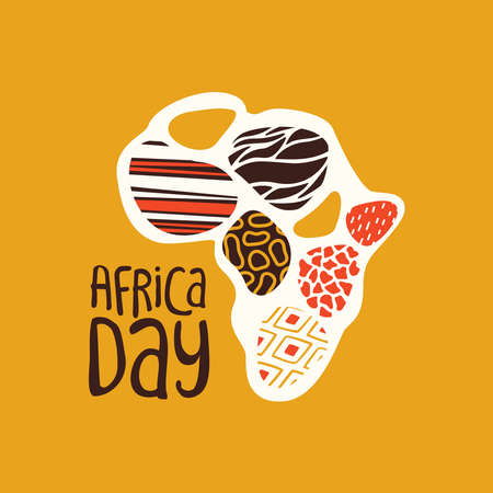 Africa Day greeting card illustration for 25 may celebration. African continent map with traditional tribal art decoration. Ilustração