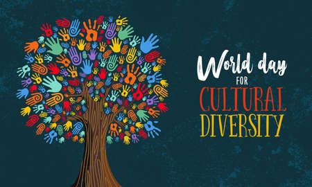 Ilustracja Dnia Różnorodności Kulturowej o pomoc i miłość społeczną. Drzewo wykonane z koncepcji kolorowe ludzkie ręce.