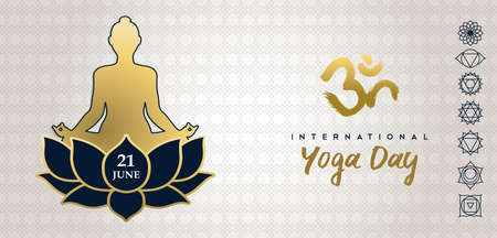 Yoga Day greeting card illustration of gold human silhouette in lotus pose with flower and chakra icons.