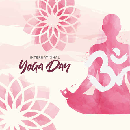International Yoga Day greeting card illustration. Pink watercolor art of woman doing lotus pose exercise and floral background.