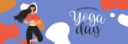 International Yoga Day banner illustration of woman in tree pose for meditation, health and fitness.
