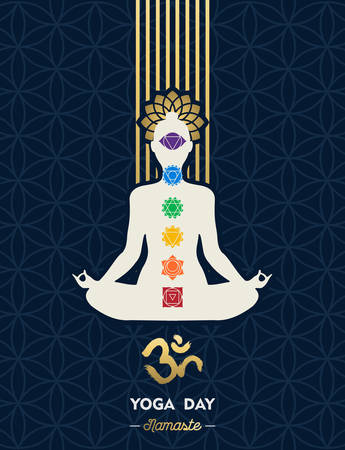 Yoga Day illustration for special meditation holiday. Woman doing lotus pose with chakra icons and om symbol. 向量圖像