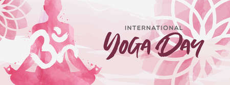 International Yoga Day banner illustration. Pink watercolor art of woman doing lotus pose exercise and floral background.