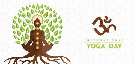 International Yoga Day greeting card illustration of lotus pose tree. Natural energy for meditation concept.