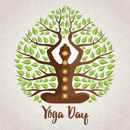 International Yoga Day greeting card illustration of woman silhouette, chakra icons and tree leaves for nature connection concept.