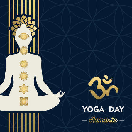 Yoga Day greeting card illustration of gold woman silhouette in lotus pose with flower and chakra icons.