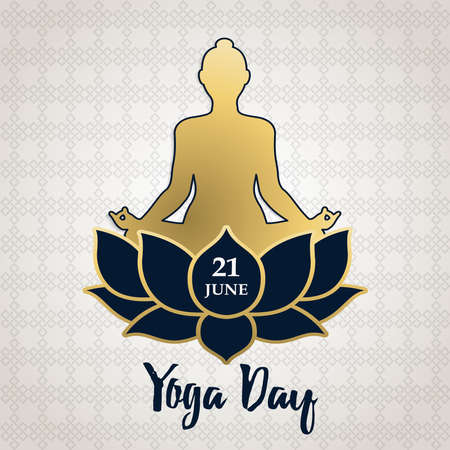 Yoga Day greeting card illustration of gold people silhouette in lotus pose with flower. Meditation and mind relaxation concept.