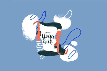 International yoga day card illustration of happy couple doing meditation exercise.  Partner yoga or Acro Yoga pose.