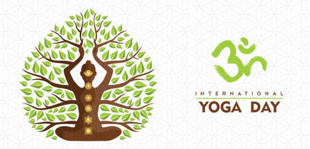 International Yoga Day banner illustration of woman silhouette, chakra icons and tree leaves for nature connection concept. 向量圖像