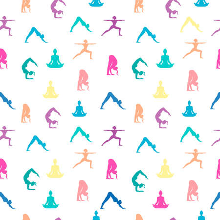 Seamless pattern of woman doing yoga meditation pose. Colorful women silouhette for spiritual or health and fitness background. Illustration