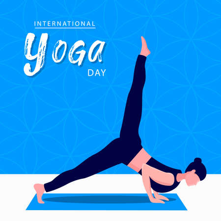 International Yoga Day greeting card illustration of woman doing meditation pose for mind relaxation and exercise. Illustration