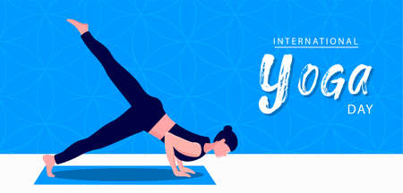 International Yoga Day banner illustration of woman doing meditation pose for mind relaxation and exercise. 向量圖像