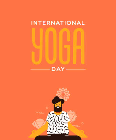 Yoga Day card of man doing lotus pose exercise in modern flat cartoon style.