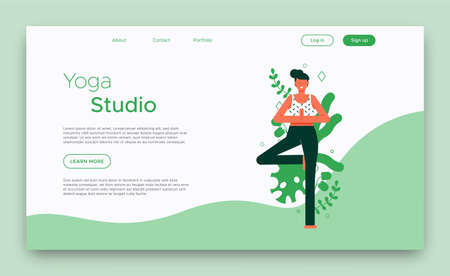 Yoga Studio landing page template for web business or online class with woman doing tree pose exercise.