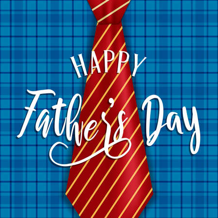 Fathers Day greeting card illustration for special family holiday.  Plaid shirt background with neck tie.