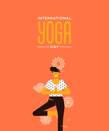 Yoga Day greeting card of woman doing tree pose exercise in modern flat cartoon style.